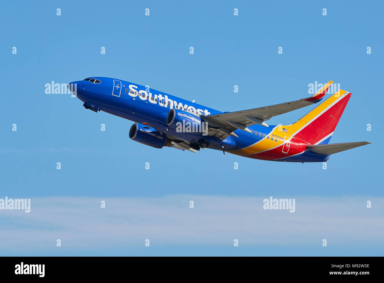 southwest airlines boeing 737-800 airliner taking off from los