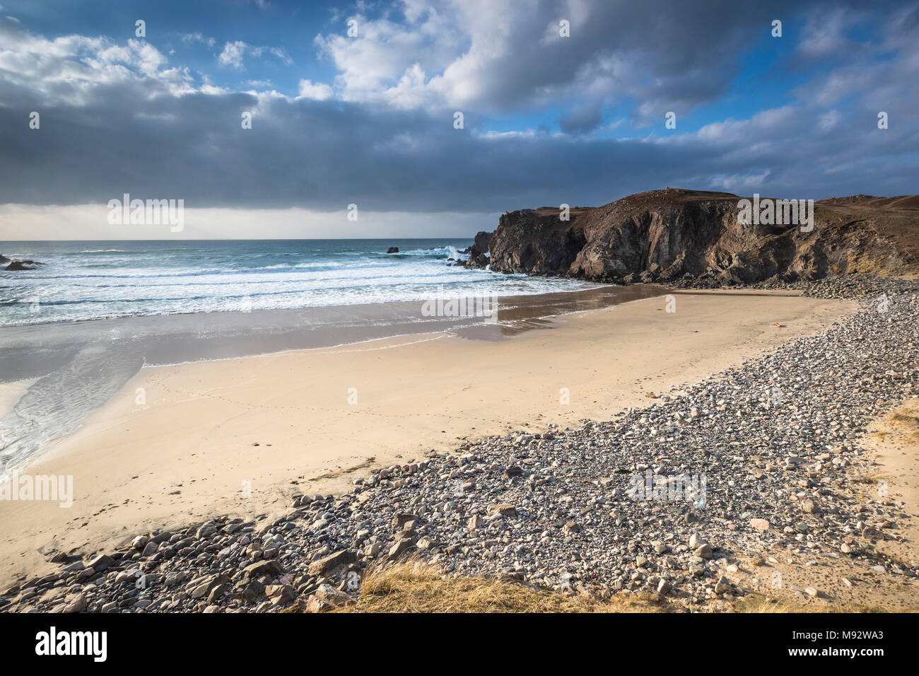 Storm beach at Mangursta on the Isle of Lewis in the Outer Hebrides. - Stock Image