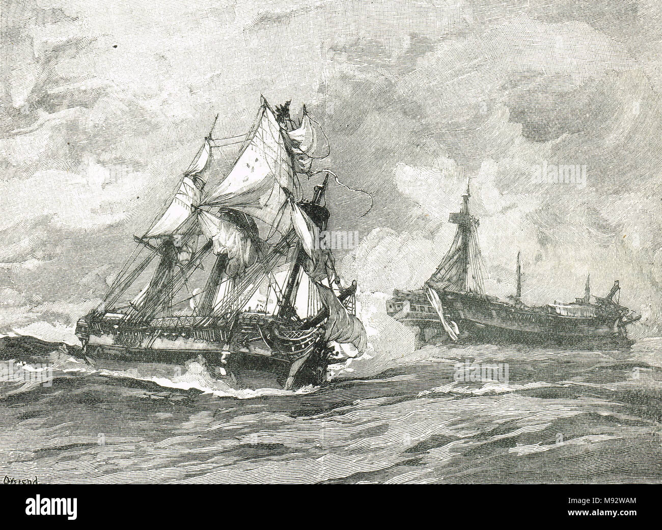 The Action of 17 June 1778, the Fight of Belle Poule and Arethusa - Stock Image