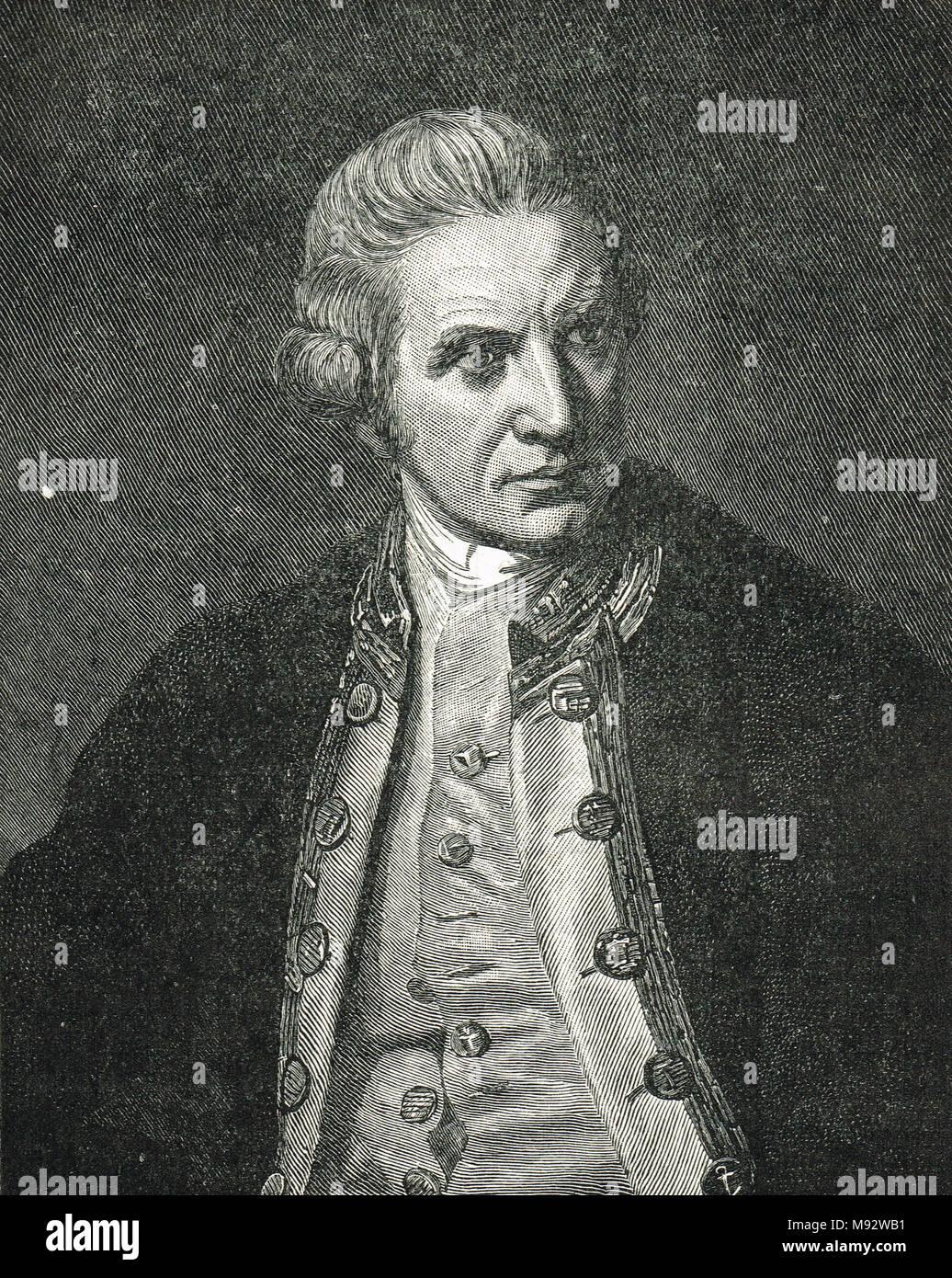 Captain James Cook, 1728–1779, British explorer, navigator, and cartographer - Stock Image