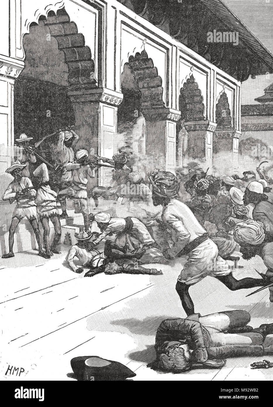 Arrest of the Rajah of Benares, Chait Singh, August 1781. Benares, India present day Varanasi, also known as Banaras - Stock Image