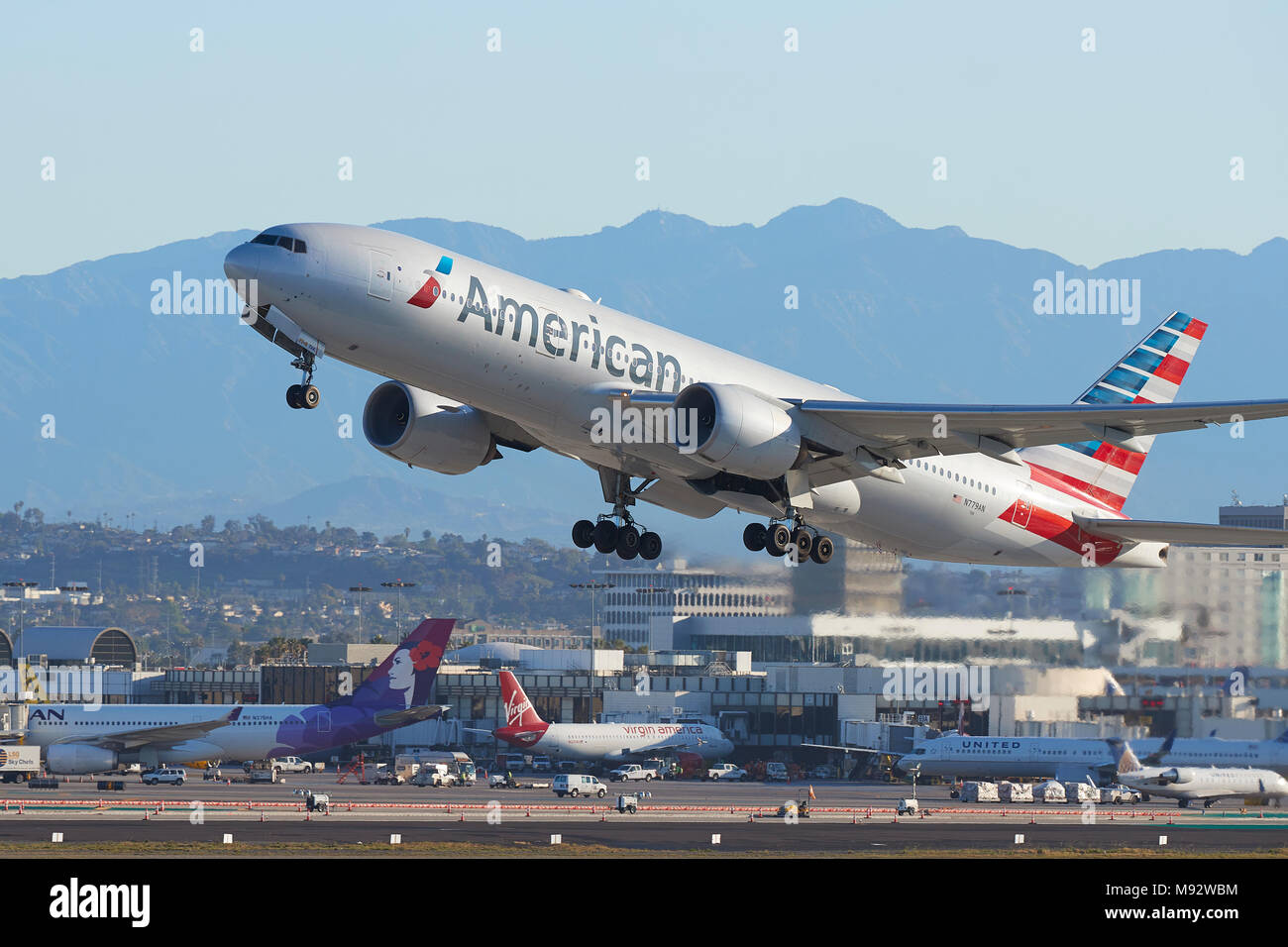American Airlines Boeing 777 Long Haul Passenger Jet Taking Off From Los Angeles International Airport, LAX, California, USA. - Stock Image