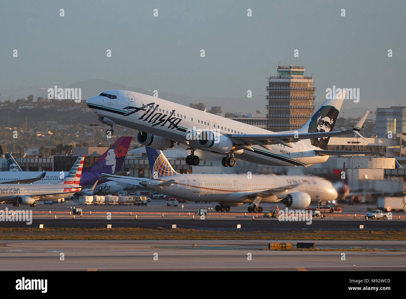 Alaska airlines stock photos alaska airlines stock images alamy alaska airlines boeing 737 800 taking off from los angeles international airport lax buycottarizona Choice Image