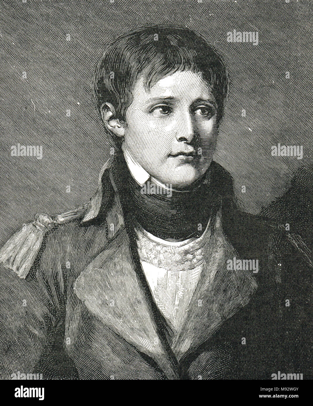 Napoléon Bonaparte as a young artillery lieutenant, circa 1785 - Stock Image