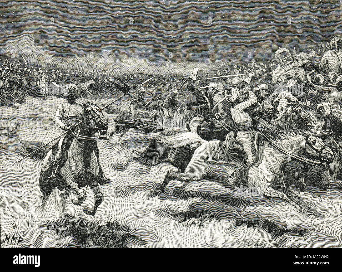 The Chase at The Battle of Argaon, also known as Battle of Argaum, 29 November 1803.  Part of the Second Anglo-Maratha War - Stock Image