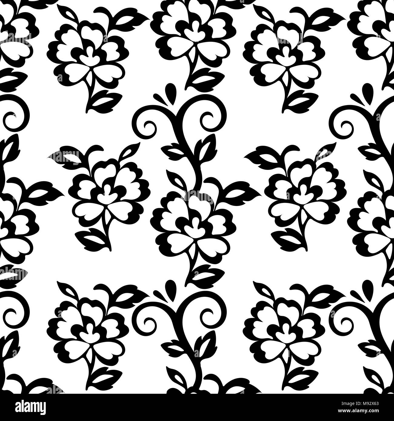 Abstract Floral Seamless Pattern Vector Background Black Floral