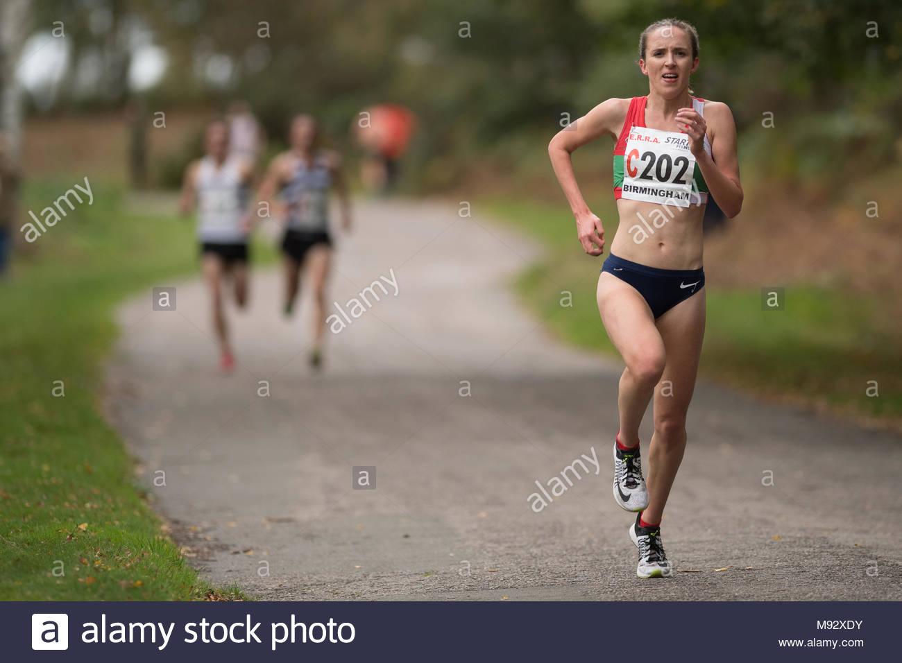 Emelia Gorecka runs a leg at the ERRA national 4 stage relays October 2017 - Stock Image