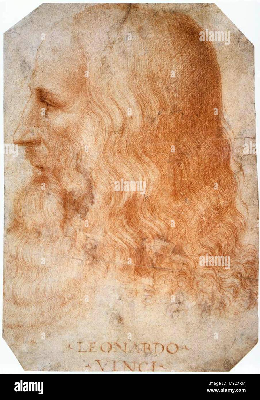 Leonardo da Vinci, Leonardo di ser Piero da Vinci (1452 – 1519), Italian Renaissance polymath - Stock Image