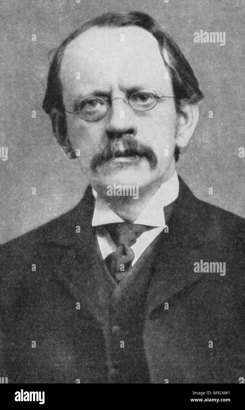 J.J. Thomson, Sir Joseph John Thomson (1856 – 1940) English physicist credited with the discovery and identification of the electron; and with the discovery of the first subatomic particle Stock Photo