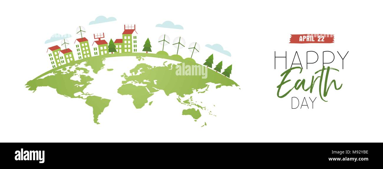 Happy Earth Day web banner illustration with green planet and houses using clean energy, wind mills, solar power. EPS10 vector. - Stock Vector