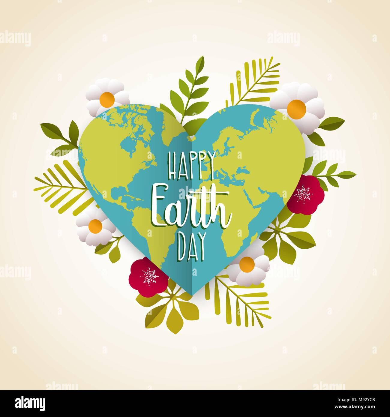 Eco friendly stock vector images alamy happy earth day greeting card of green planet in heart shape with leaves flowers and kristyandbryce Images