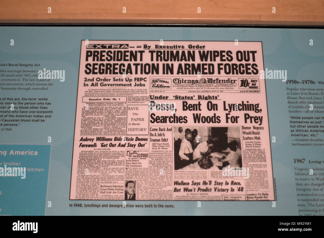 Newspaper from 1948 where desegregation and lynching were both in the news, exhibited at the Science Museum of Minnesota. St Paul Minnesota MN USA - Stock Image