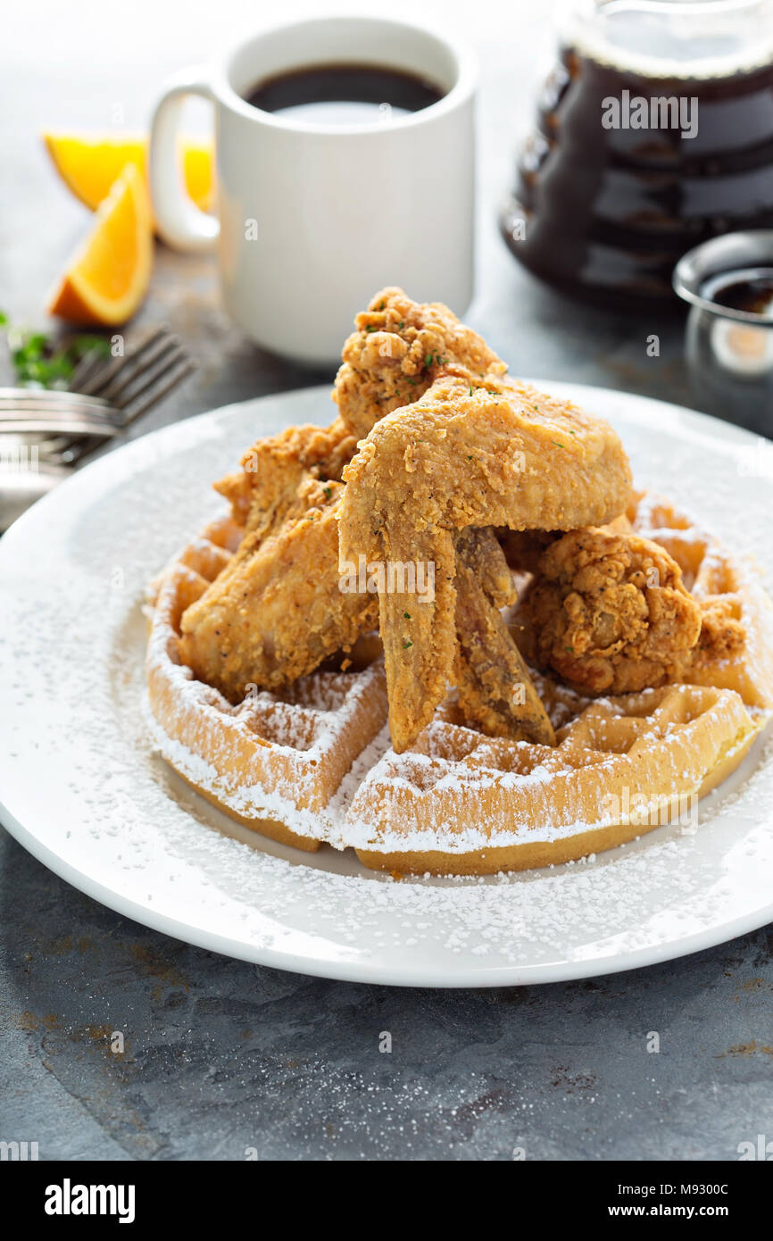 Fried chicken and waffles, southern food concept - Stock Image