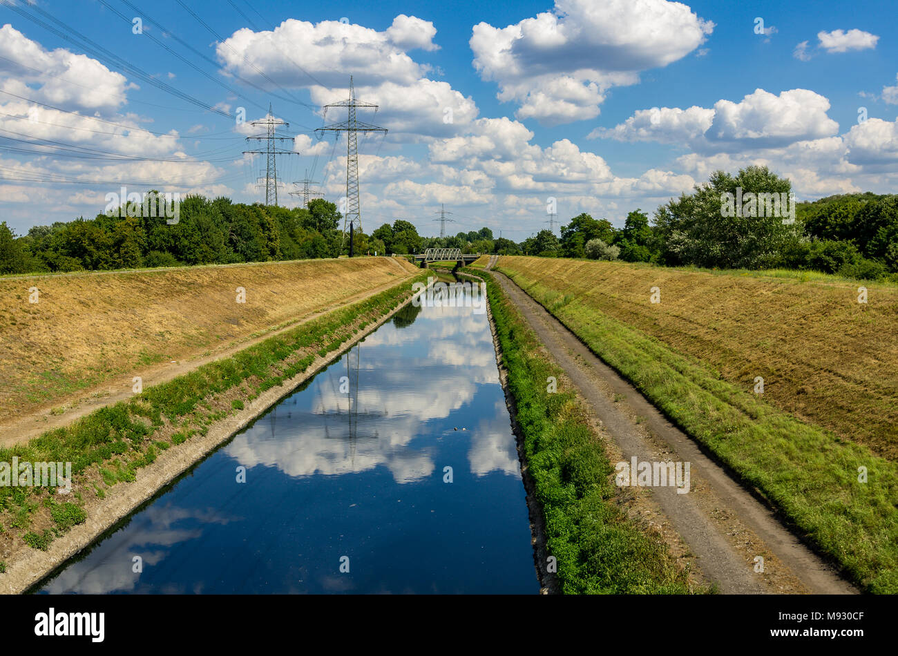 The river Emscher by Essen, Germany Stock Photo
