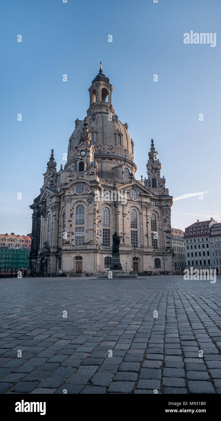Our Lady's church / Church of Our Lady (Frauenkirche) in and Luther statue in the early morning, Dresden, Saxony, Germany - Stock Image