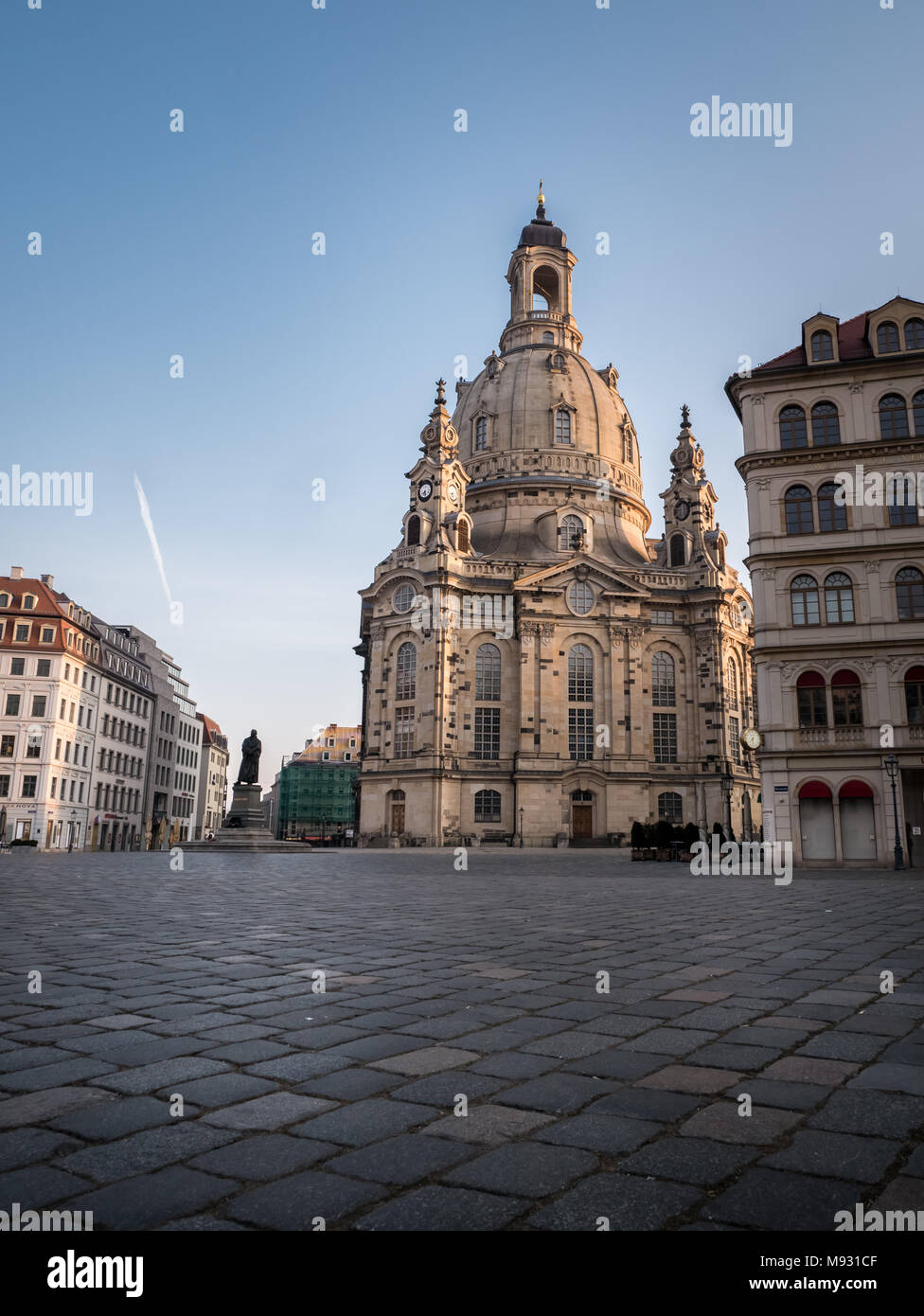 Our Lady's church / Church of Our Lady (Frauenkirche) in and Luther statue in the early morning, Dresden, Saxony, Germany Stock Photo
