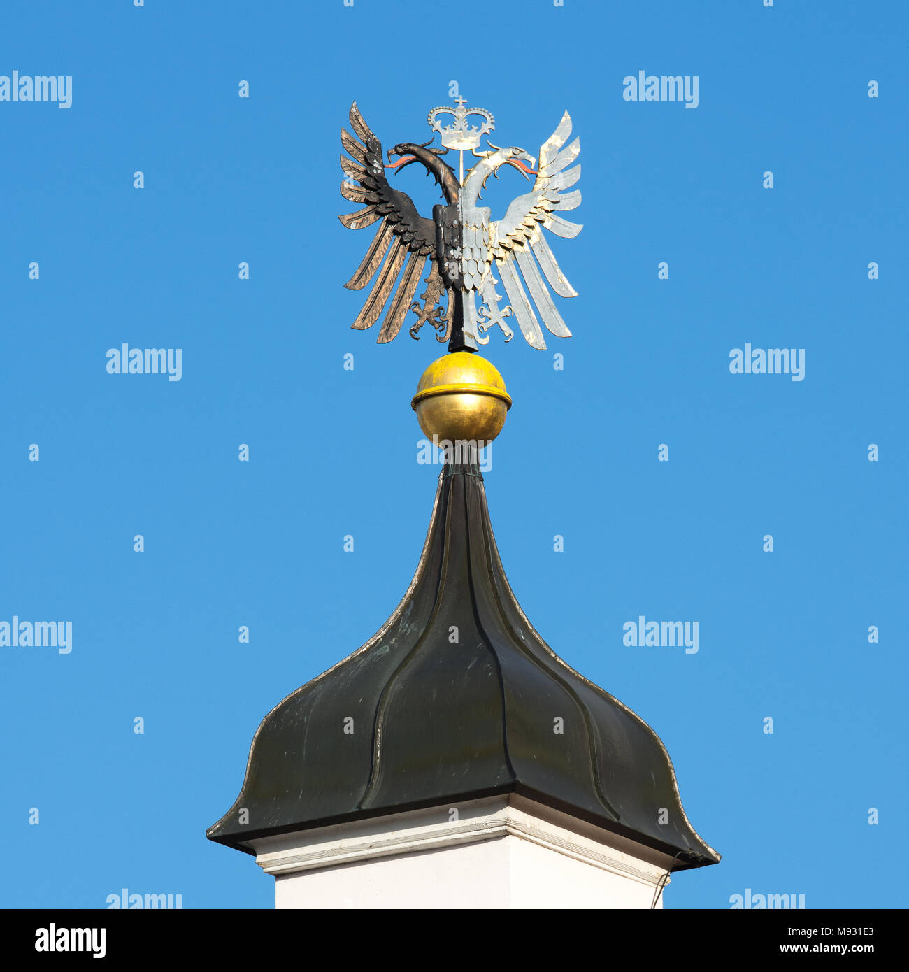 Double eagle on the spire of the town hall in Kempten Stock Photo