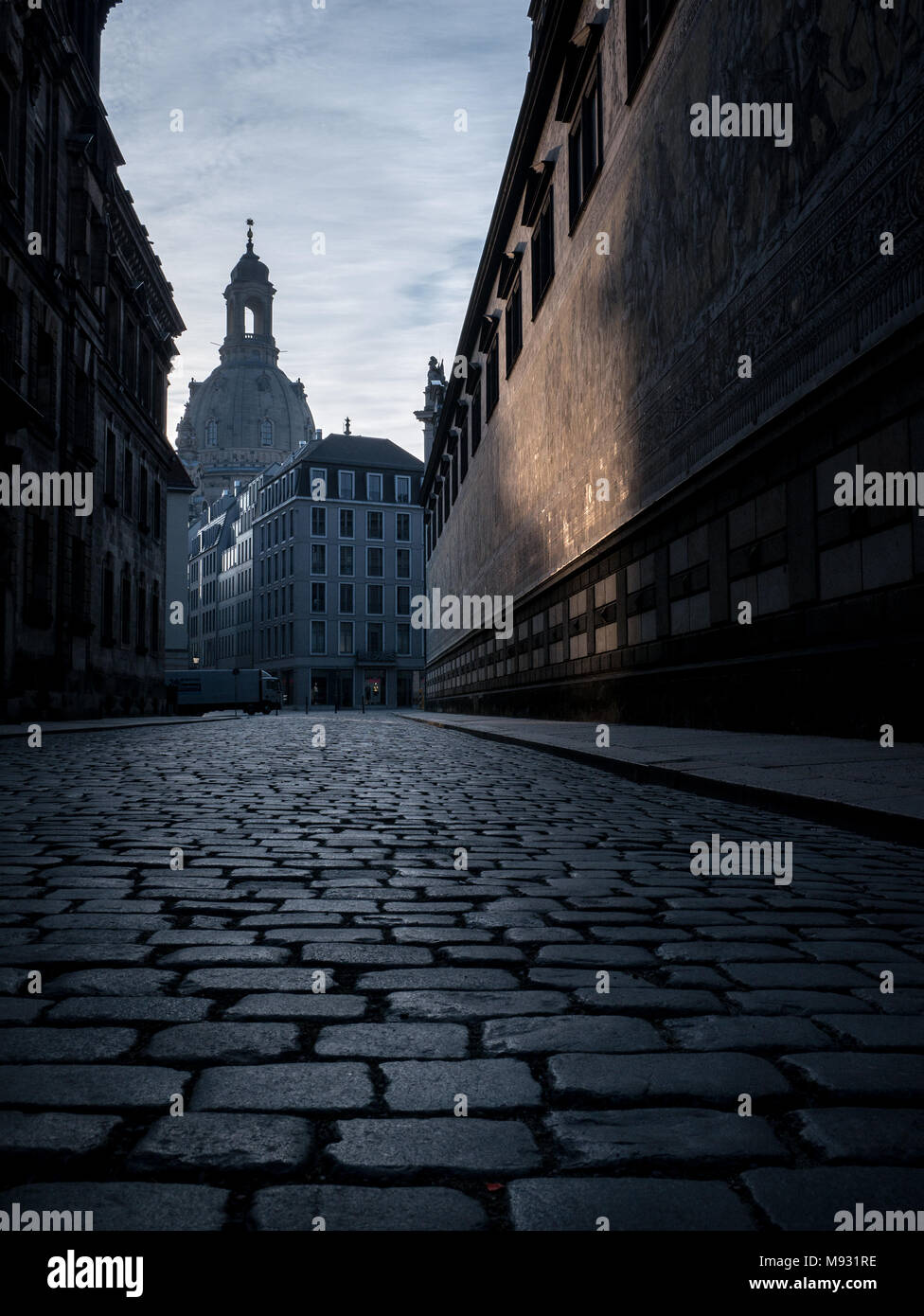 Our Lady's church / Church of Our Lady (Frauenkirche) in the early morning light, as seen from the Procession of Princes (Fürstenzug) -Dresden,Germany - Stock Image
