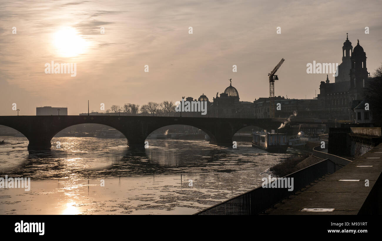 View over the Augustus Bridge, Elbe River, Our Lady's Church (Frauenkirche), Catholic Church (Kath. Hofkirche) in Dresden, Saxony, Germany - Stock Image