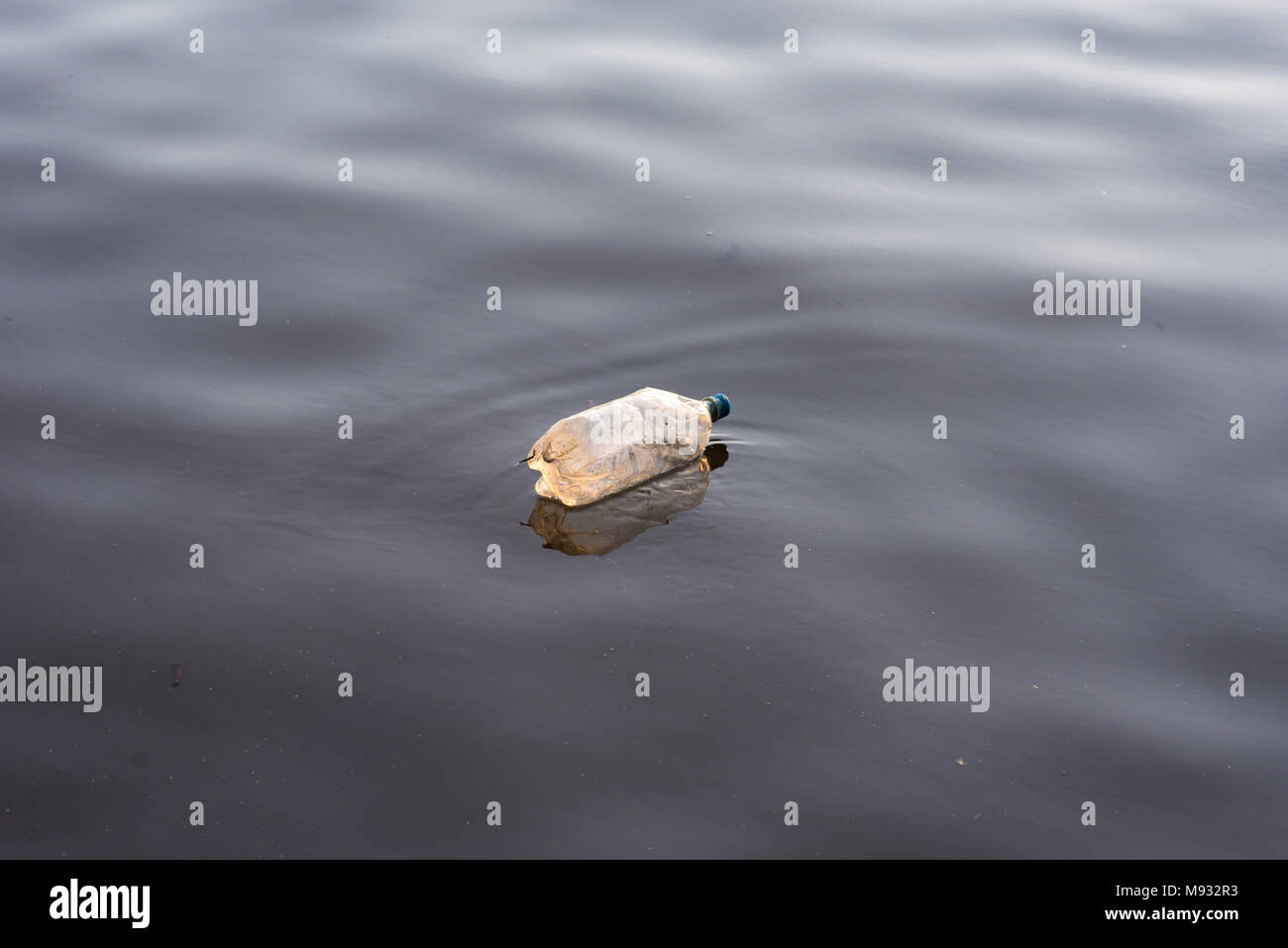 closeup of a single plastic bottle litter floating in body of water - Stock Image