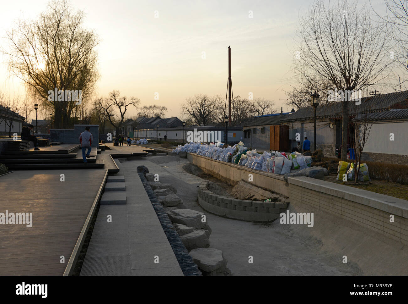 Hard landscaping of stream and path nears completion near Houhai in Beijing, China - Stock Image