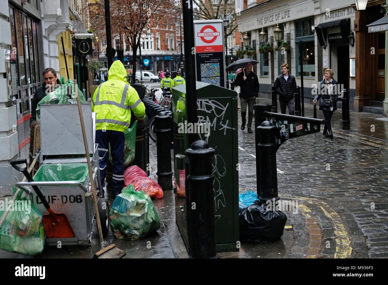 Street cleaning in Soho, London. - Stock Image