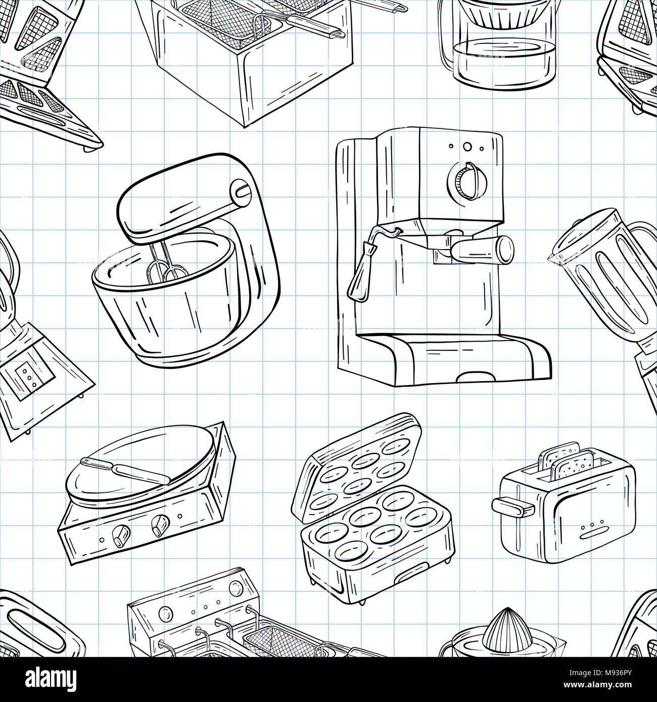 Household Appliances For The Kitchen Cafe And Restaurant Vector Illustration Of Seamless Pattern In Hand Drawn Graphics Meat Grinder Juicer Oven Stock Vector Image Art Alamy