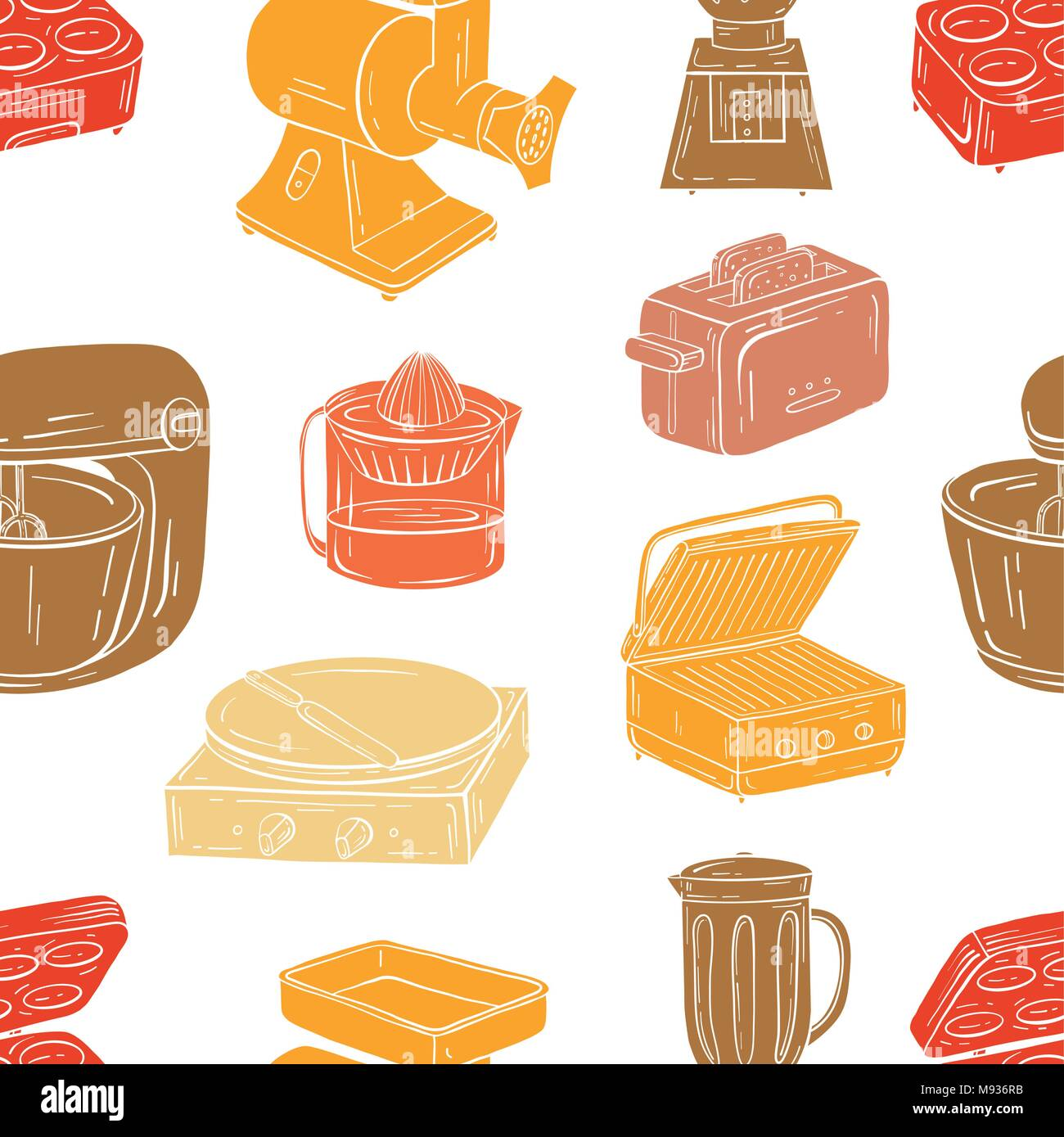 Vector illustration of seamless pattern. Household appliances fo - Stock Image