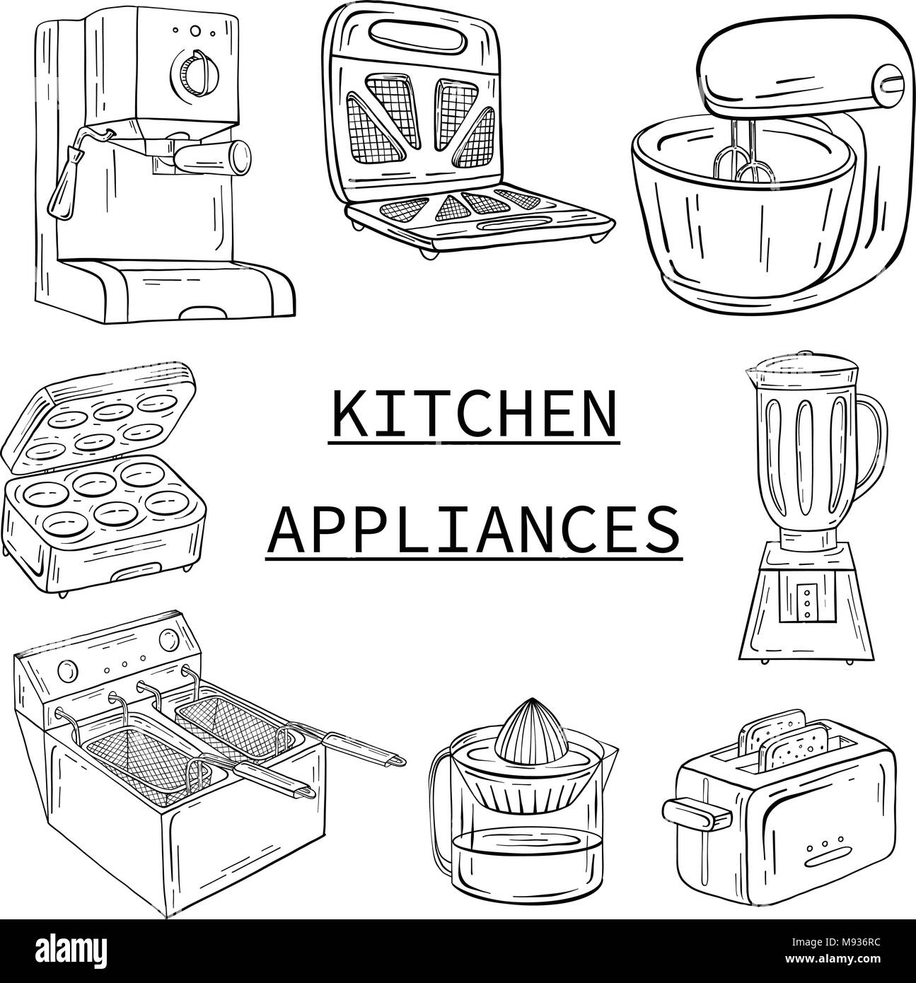 Household appliances for the kitchen, cafe and restaurant. Vecto - Stock Image