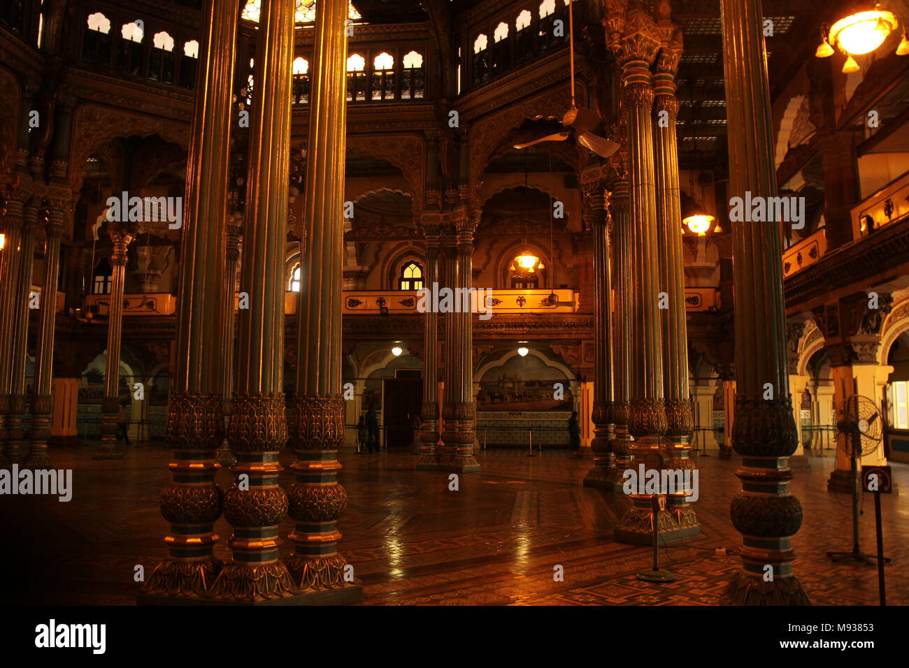 Mysore Palace Interior Lighting,in The Lights Of The Glorious Past   Stock  Image