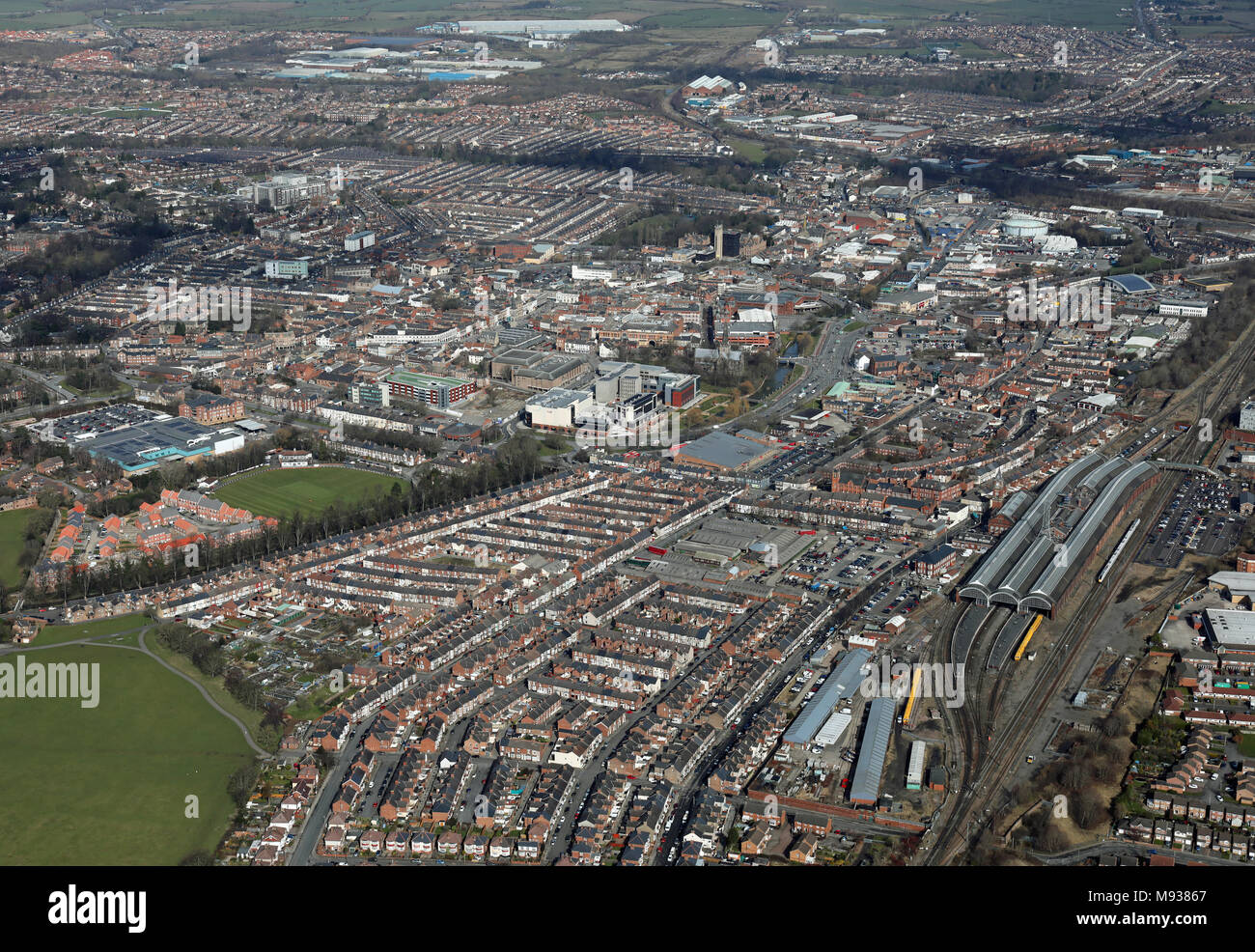 aerial view of Darlington town centre, County Durham, UK - Stock Image