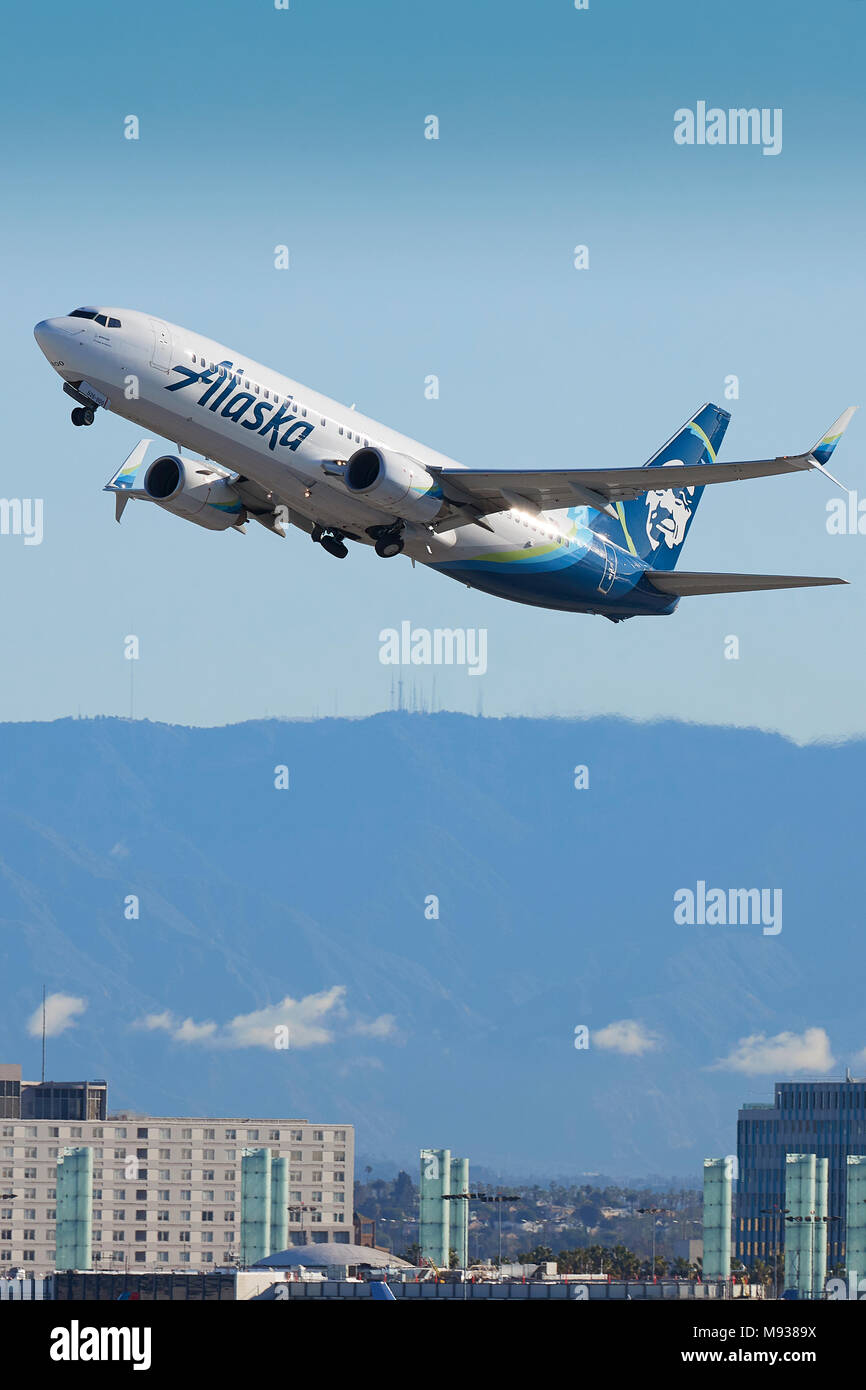 Alaska airlines stock photos alaska airlines stock images alamy alaska airlines boeing 737 800 passenger jet taking off from lax los angeles international buycottarizona Choice Image