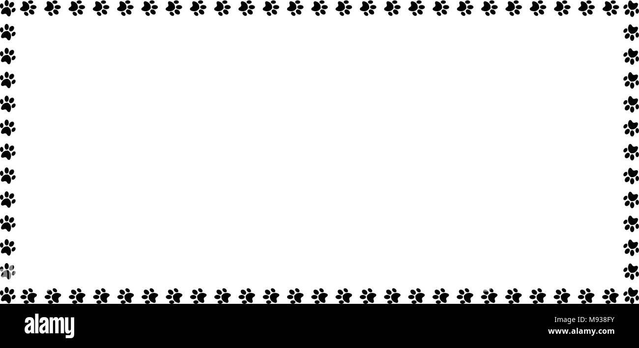 Rectangle frame made of black animal paw prints on white background ...