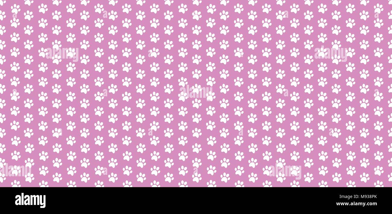 rectangle seamless baby pattern of white animal paw prints on pink