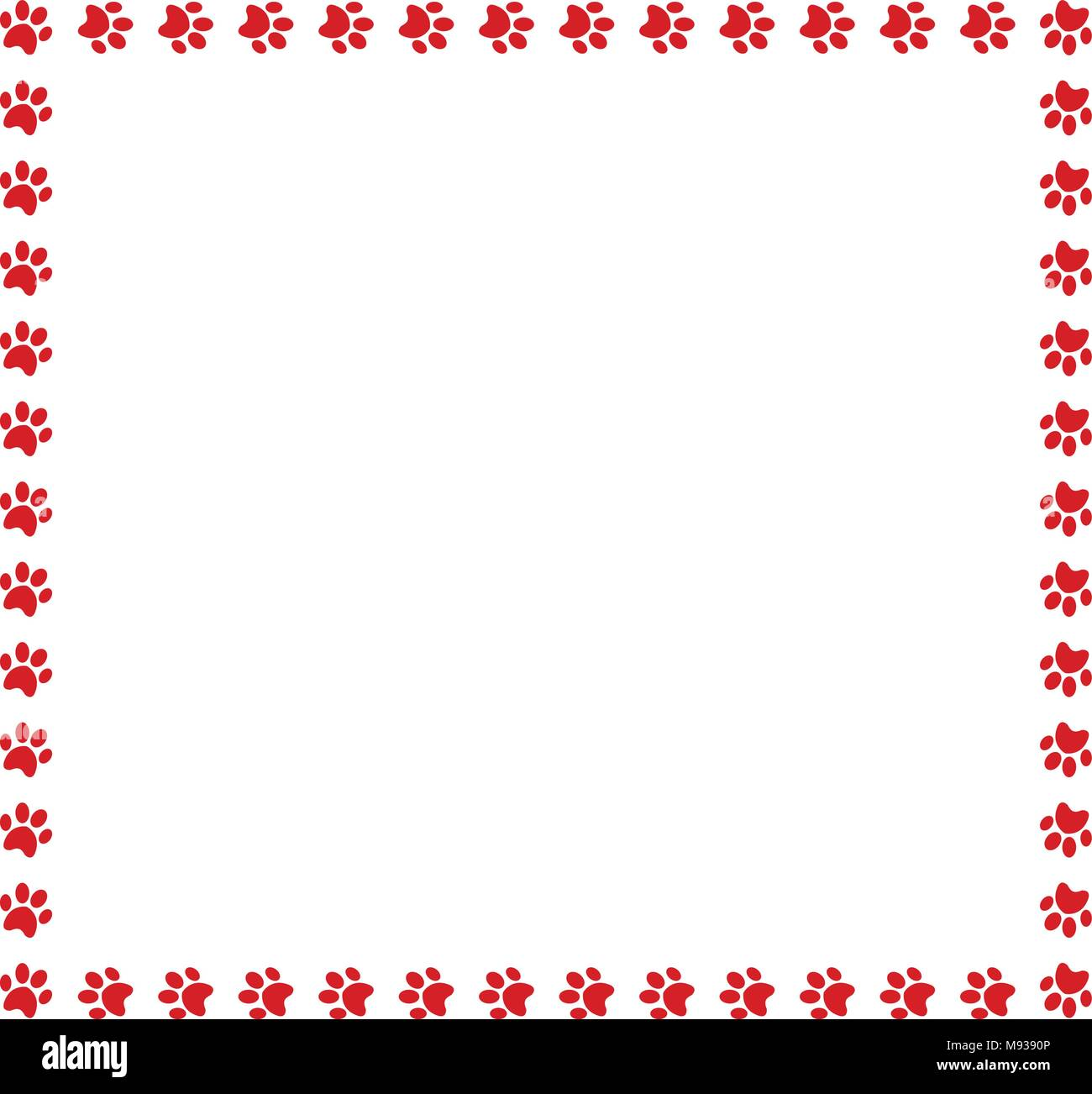 Square frame made of red animal paw prints on white background ...