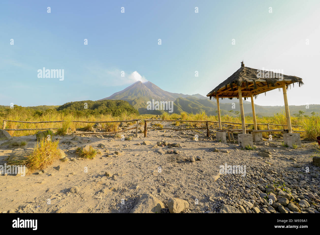 Mount Merapi, javanese, is an active stratovolcano located on the border between Central Java and Yogyakarta, Indonesia. - Stock Image