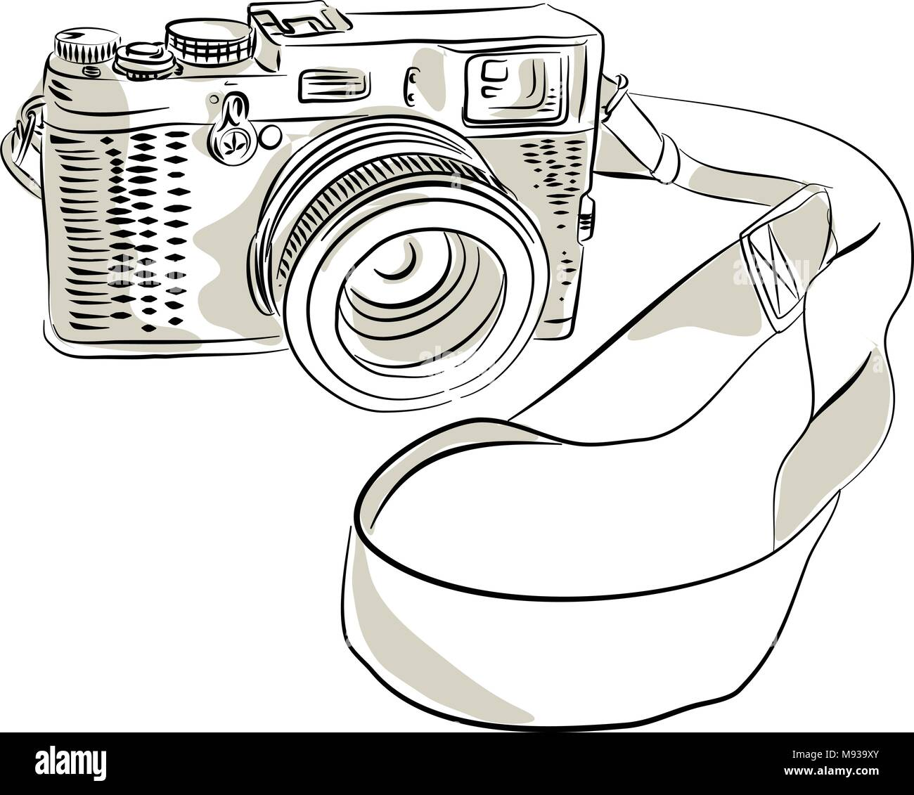 Drawing sketch style illustration of a vintage 35mm SLR  film camera with sling or strap and zoom lens on isolated background. Stock Vector