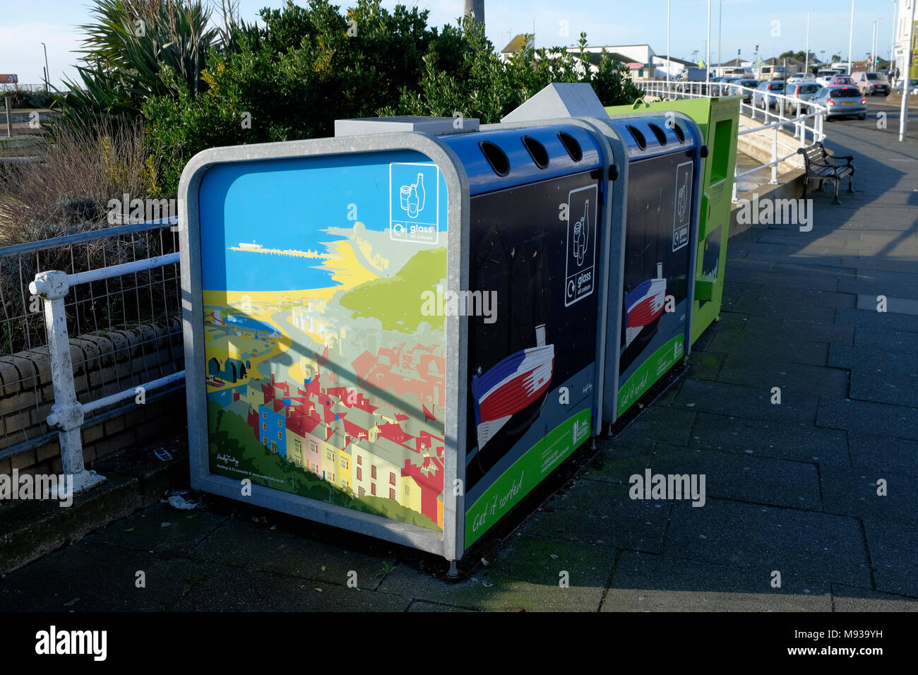 bottle bank recycling bins, depicting scenery of hastings old town - Stock Image