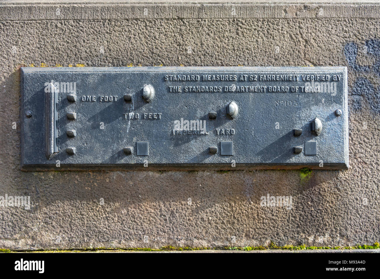 Standard Measures gauge, one foot, two feet and one yard.  St. George's Quarter, Liverpool, England, UK - Stock Image
