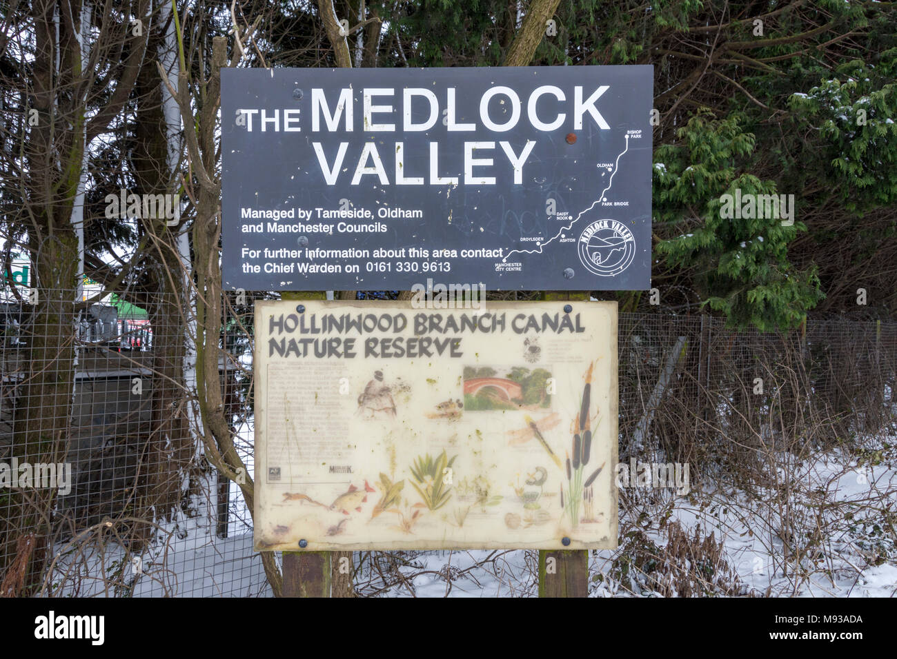 Signs at the Hollinwood Branch Canal Nature Reserve, Tameside, Manchester, England, UK - Stock Image