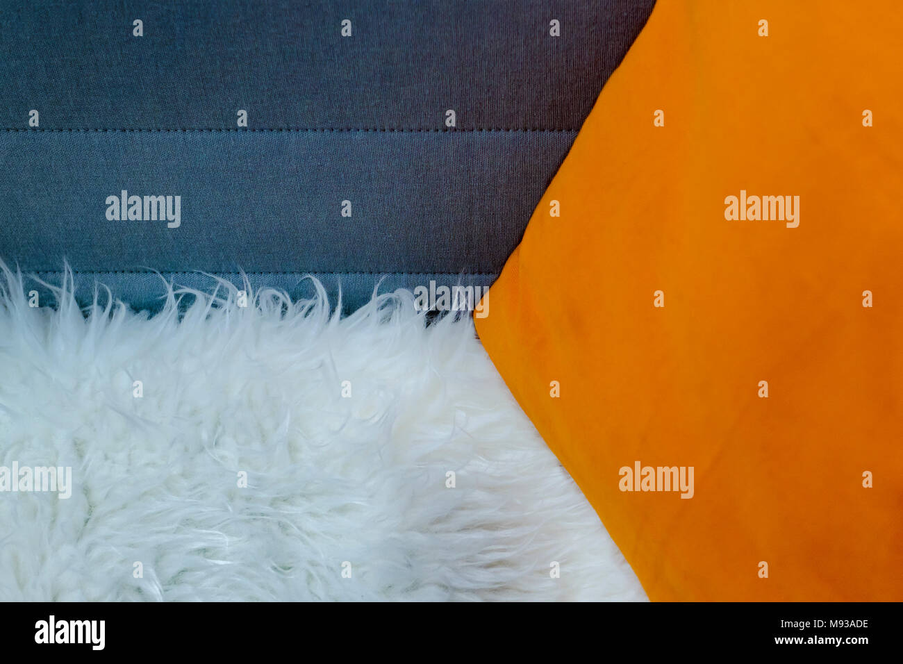 Pillow, Sofa Back And Fur Plaid Concept