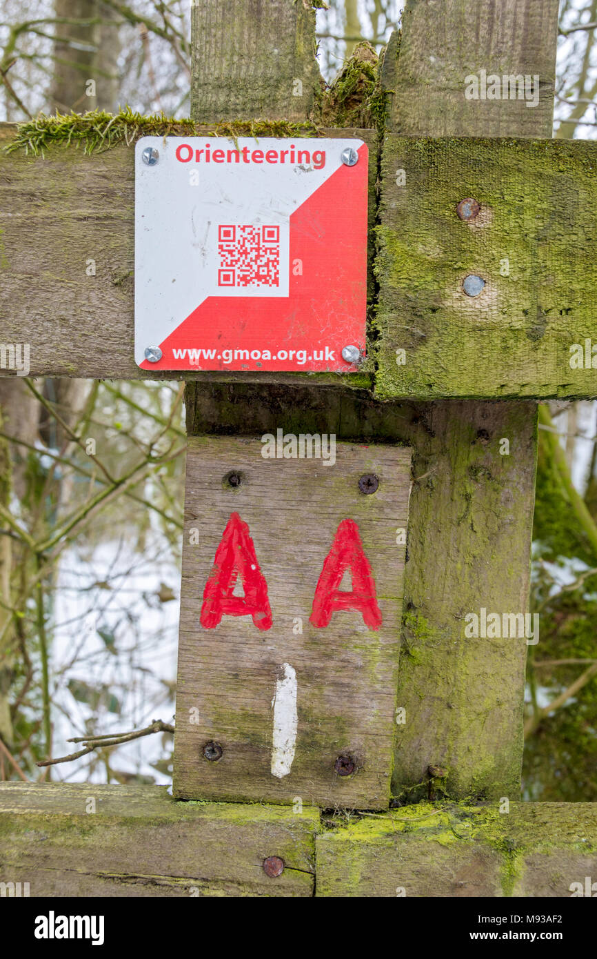 Orienteering control marker with QR code at Daisy Nook Country Park, Failsworth, Manchester, England, UK. - Stock Image