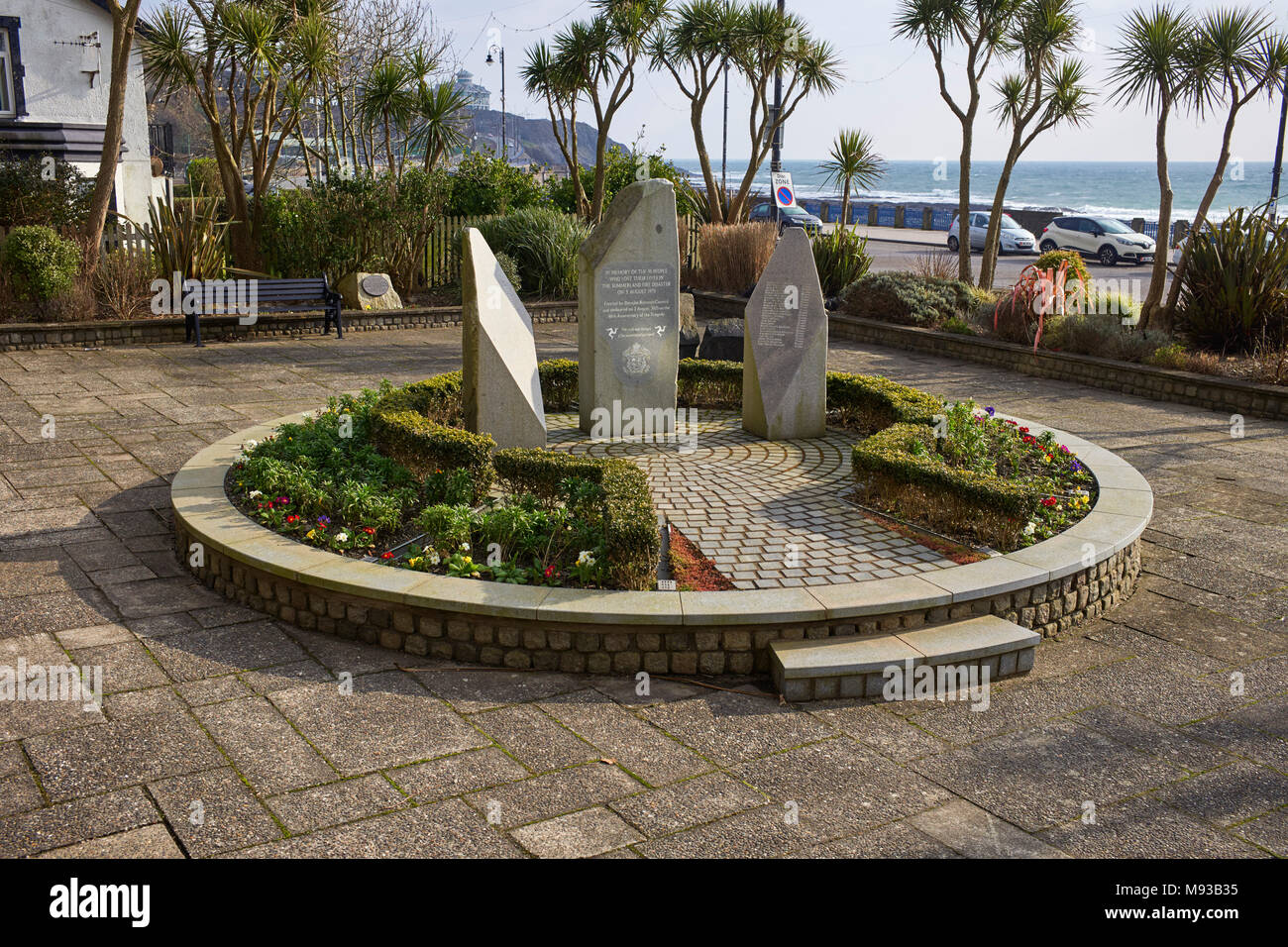 The memorial to the 50 people who lost their lives in the Summerland fire disaster on 2 August 1973 near to the site in Douglas, Isle of Man - Stock Image