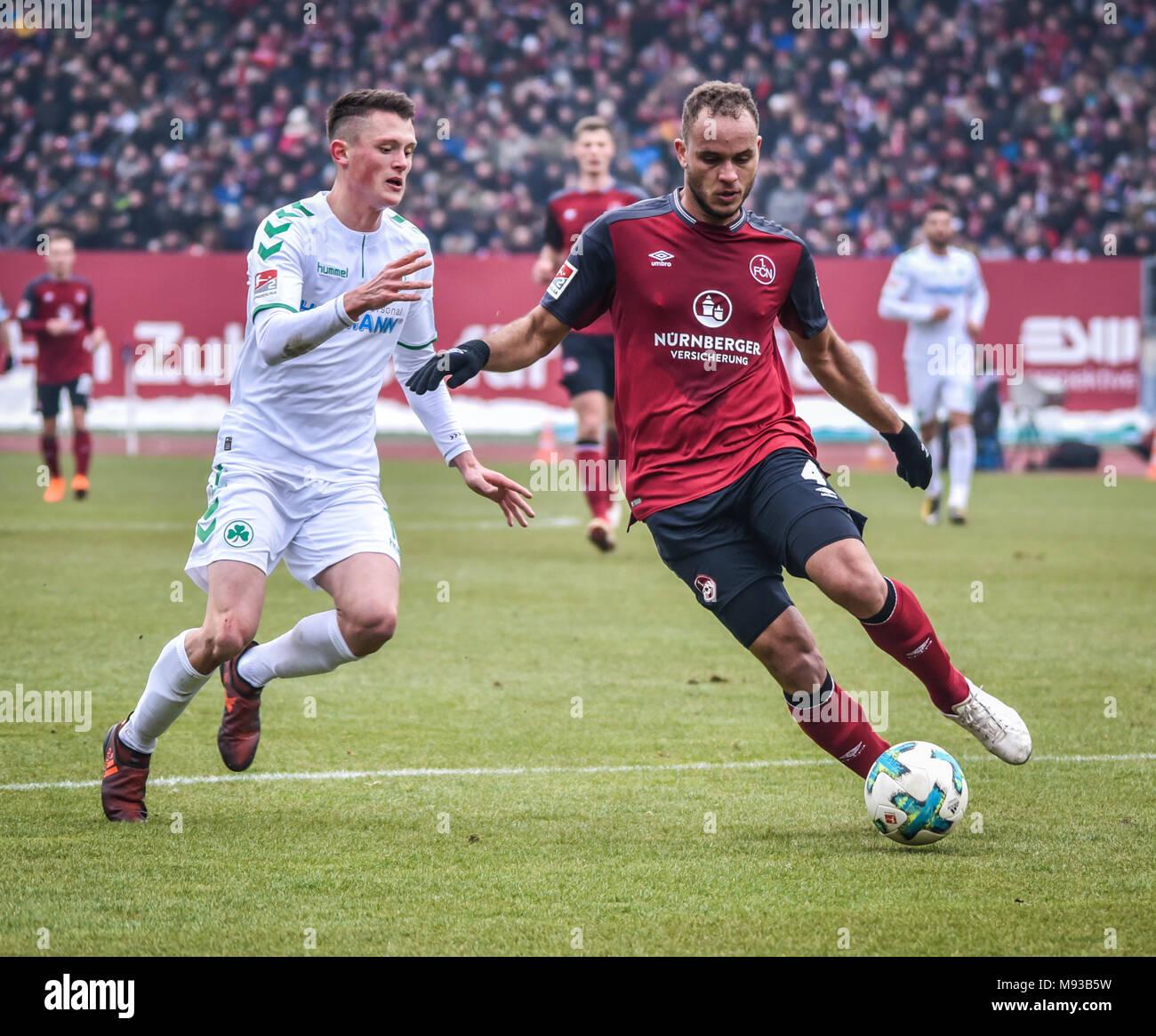 Germany, Nuernberg, Max-Morlock-Stadion, 03 March 2018 - 2.Bundesliga - 1.FC Nürnberg vs. SpVgg Greuther Fürth - 264th Franken Derby! - Stock Image
