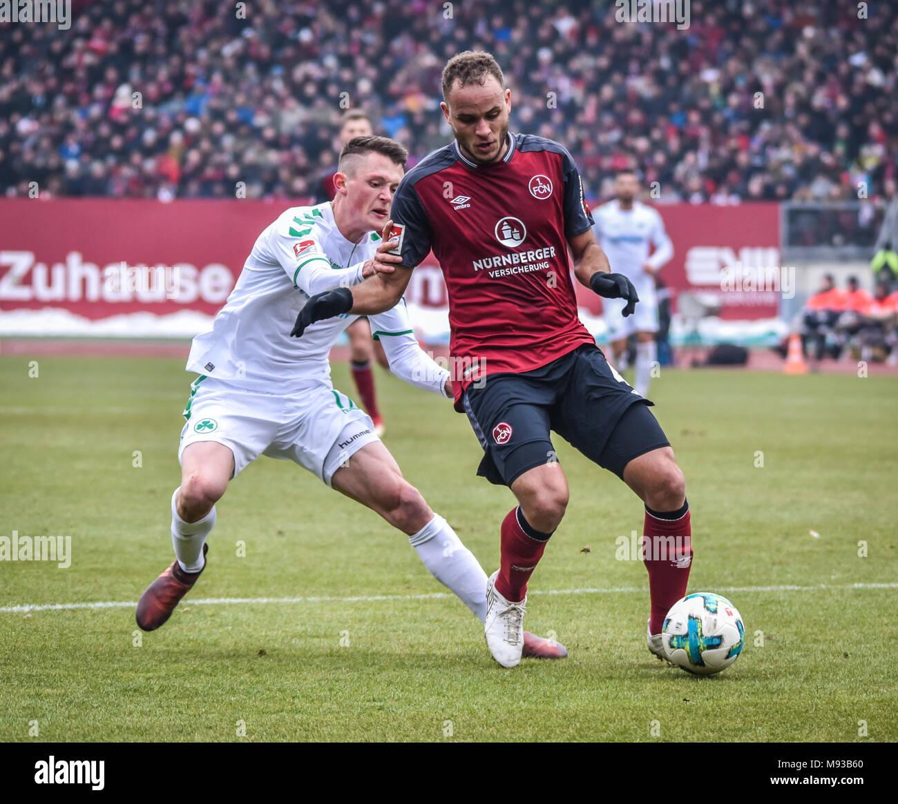 Germany, Nuernberg, Max-Morlock-Stadion, 03 March 2018 - 2.Bundesliga - 1.FC Nürnberg vs. SpVgg Greuther Fürth - 264th Franken Derby! Stock Photo
