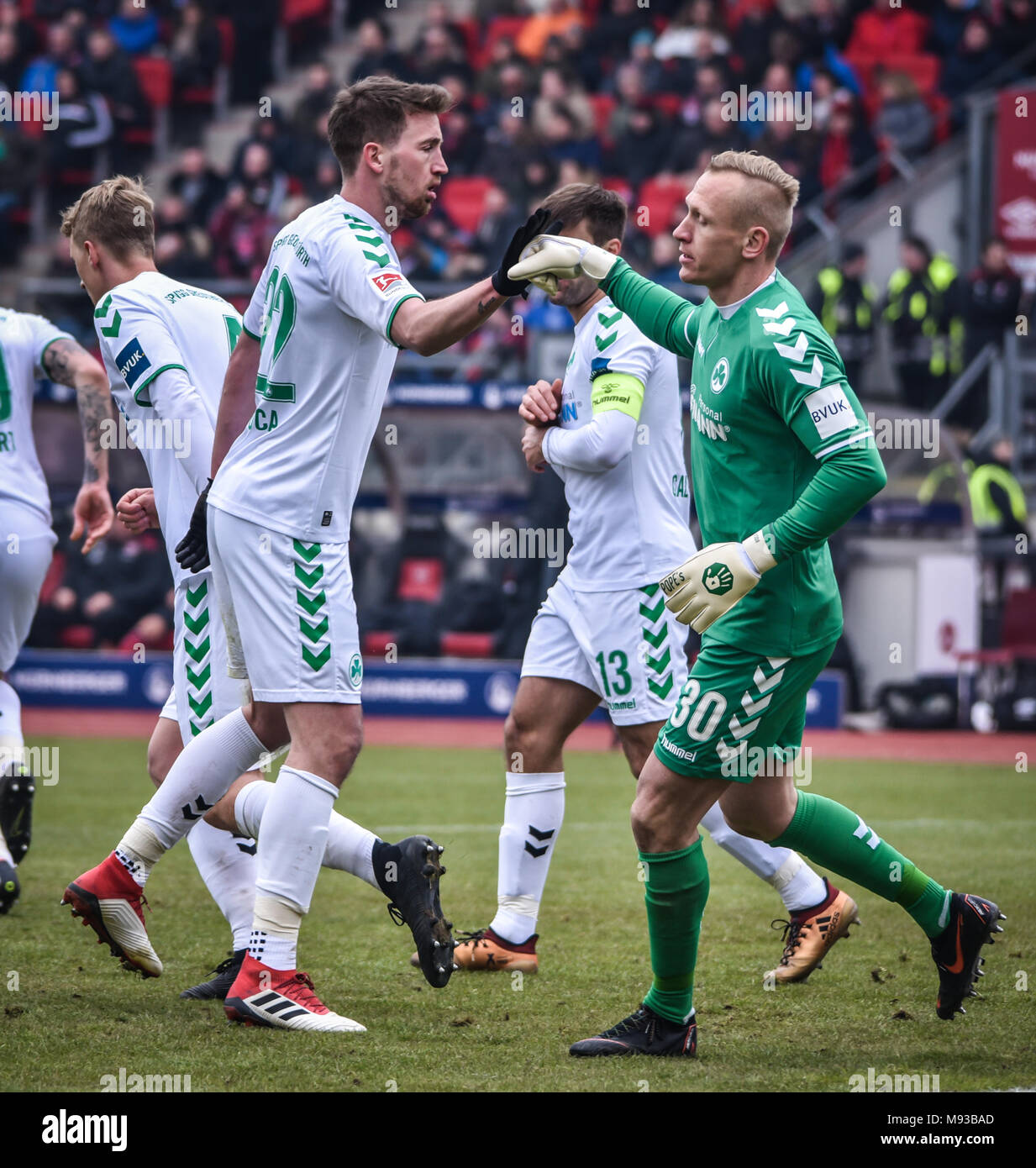 Germany, Nuernberg, Max-Morlock-Stadion, 03 March 2018 - 2.Bundesliga - 1.FC Nürnberg vs. SpVgg Greuther Fürth - 264th Franken Derby! Stock Photo