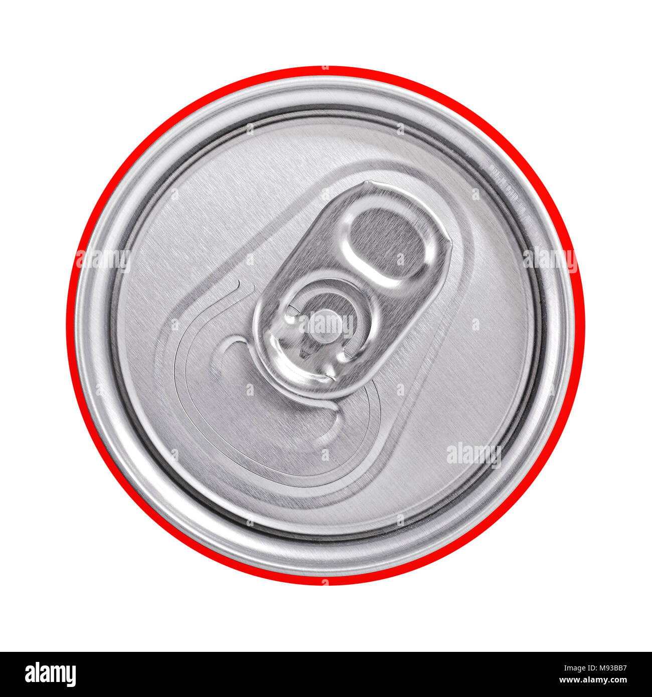 Top of a Drinks Can With a Ring Pull, Close Up. - Stock Image
