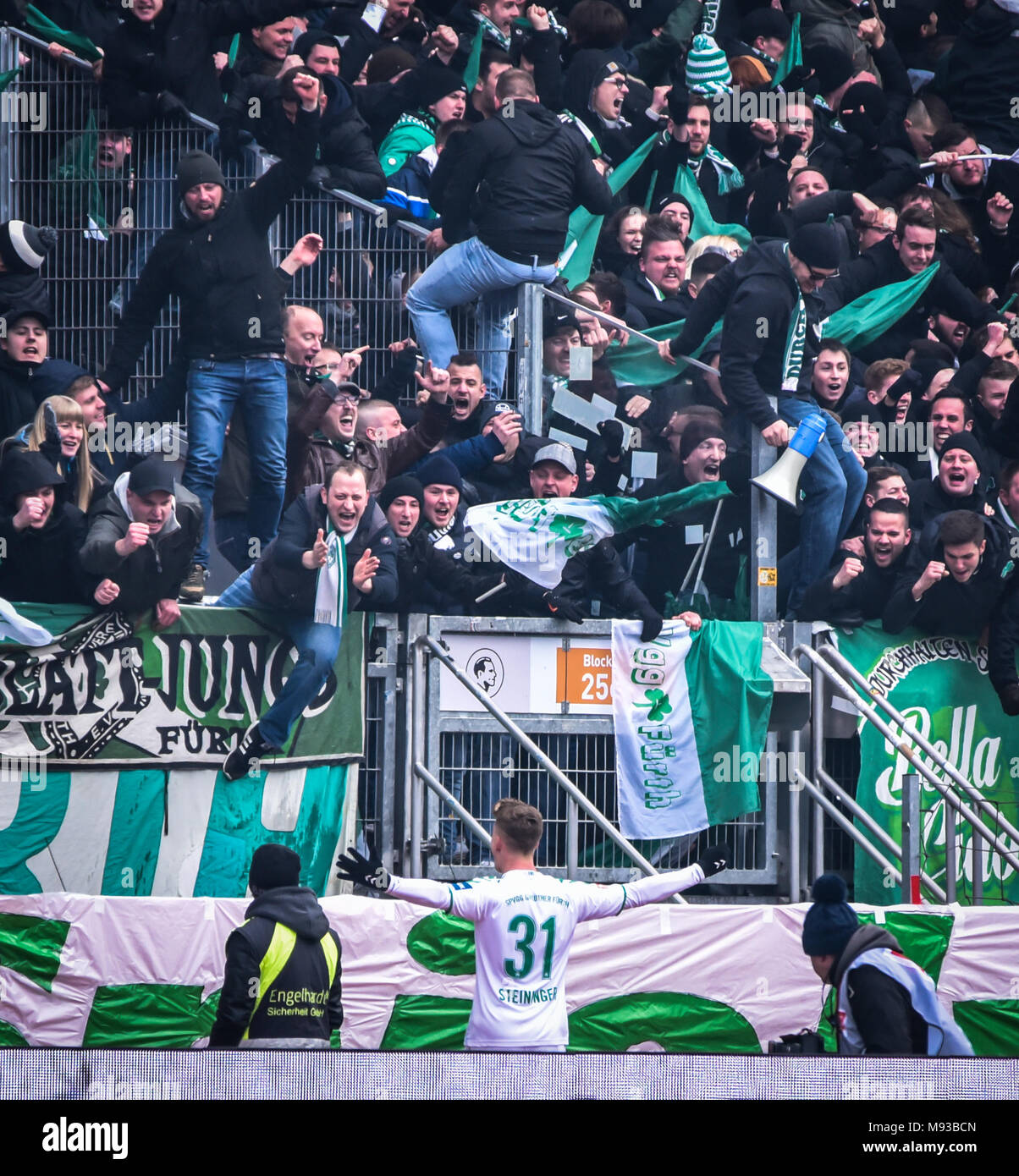 Germany, Nuernberg, Max-Morlock-Stadion, 03 March 2018 - 2.Bundesliga - 1.FC Nürnberg vs. SpVgg Greuther Fürth - 264th Franken Derby! - Stock Image
