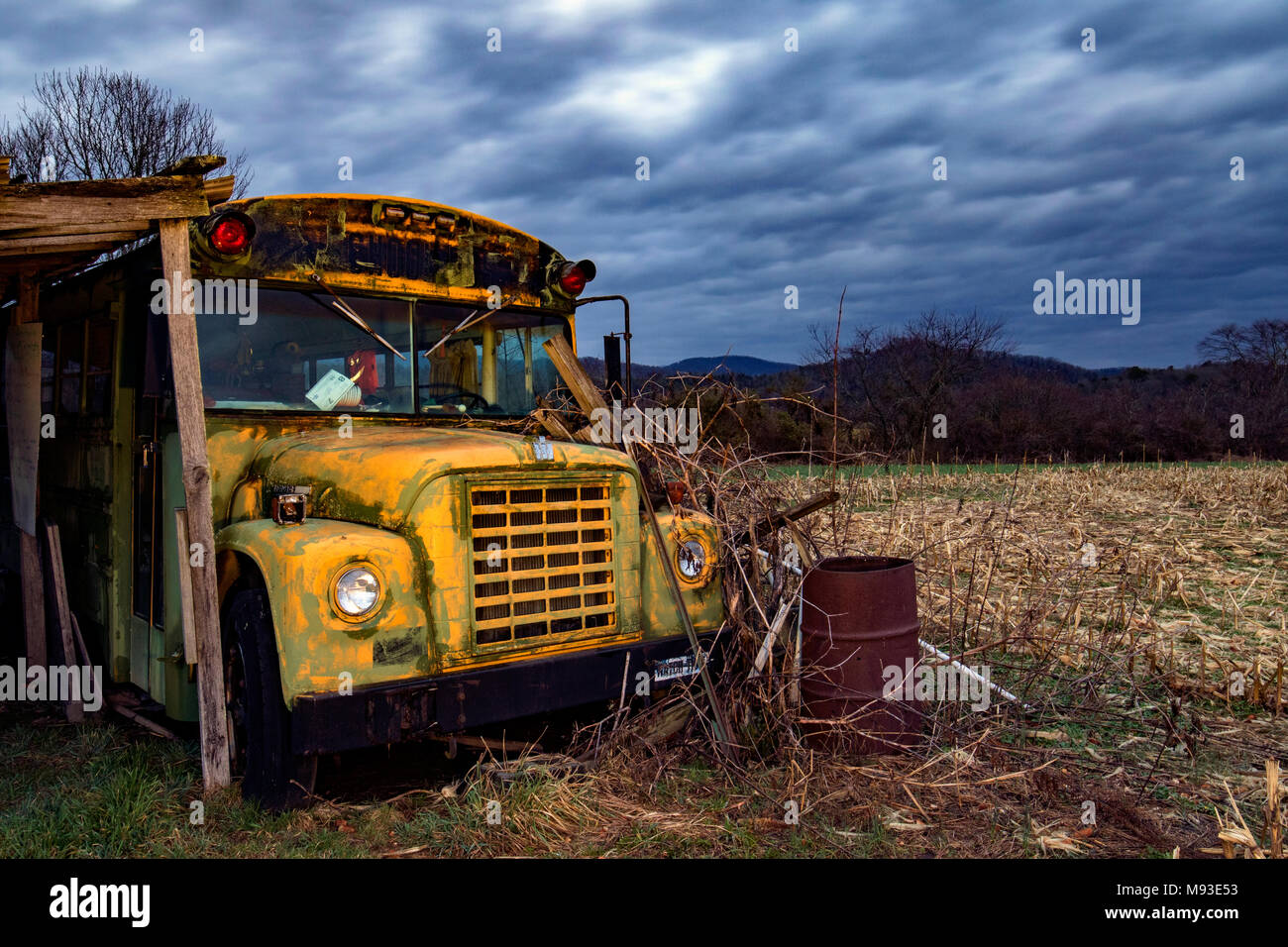 Abandoned School Bus near Brevard, North Carolina, USA - Stock Image
