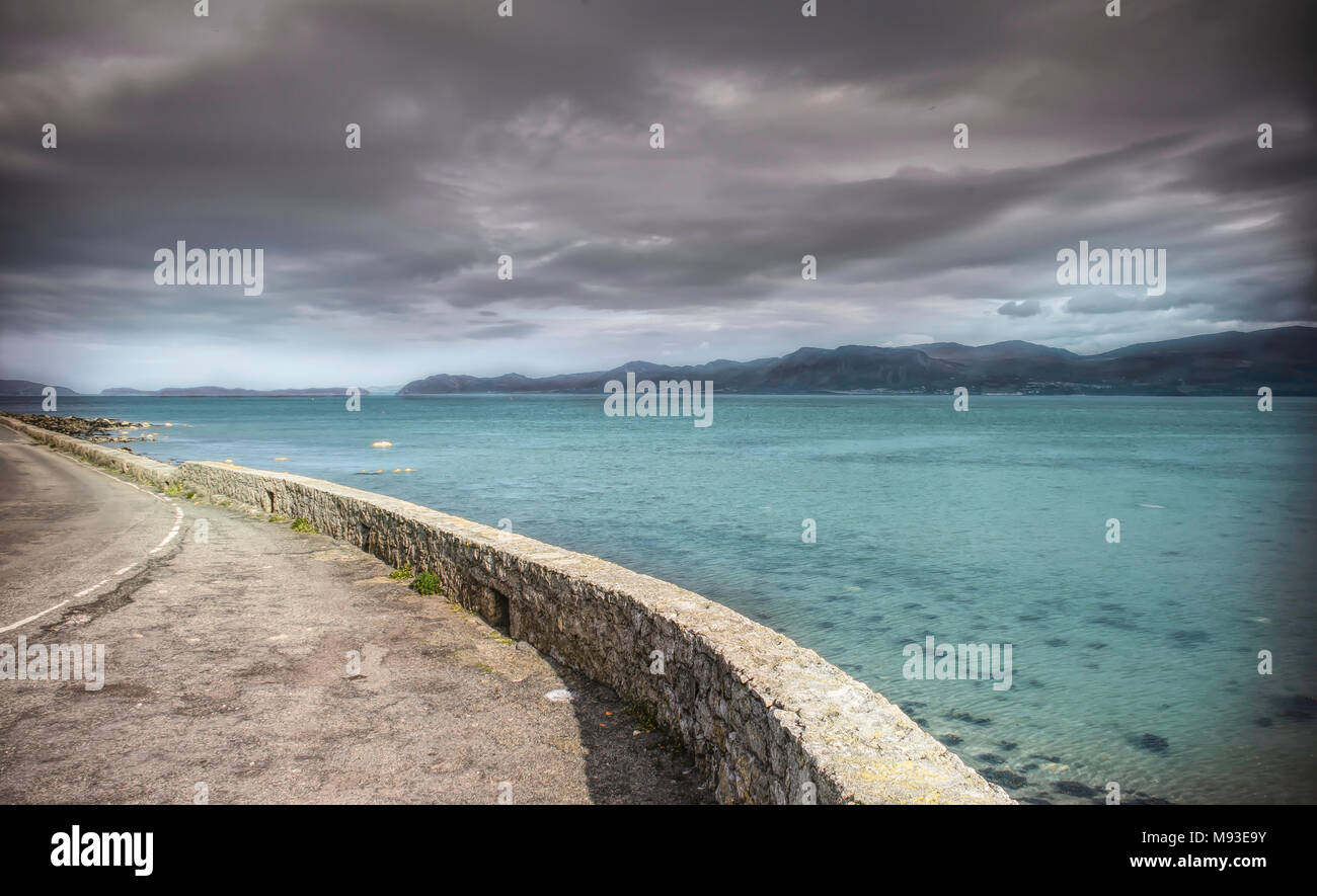 Anglesey coastline,roadside parking wIth stunning view near Beaumaris,North West UK. Stock Photo